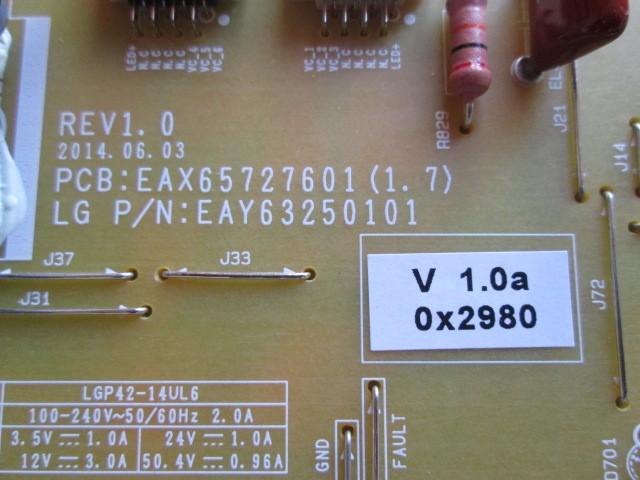 PLACA FONTE LG MODELO 42UB8200 CÓDIGO EAY63250101 / EAX65727601(1.7)