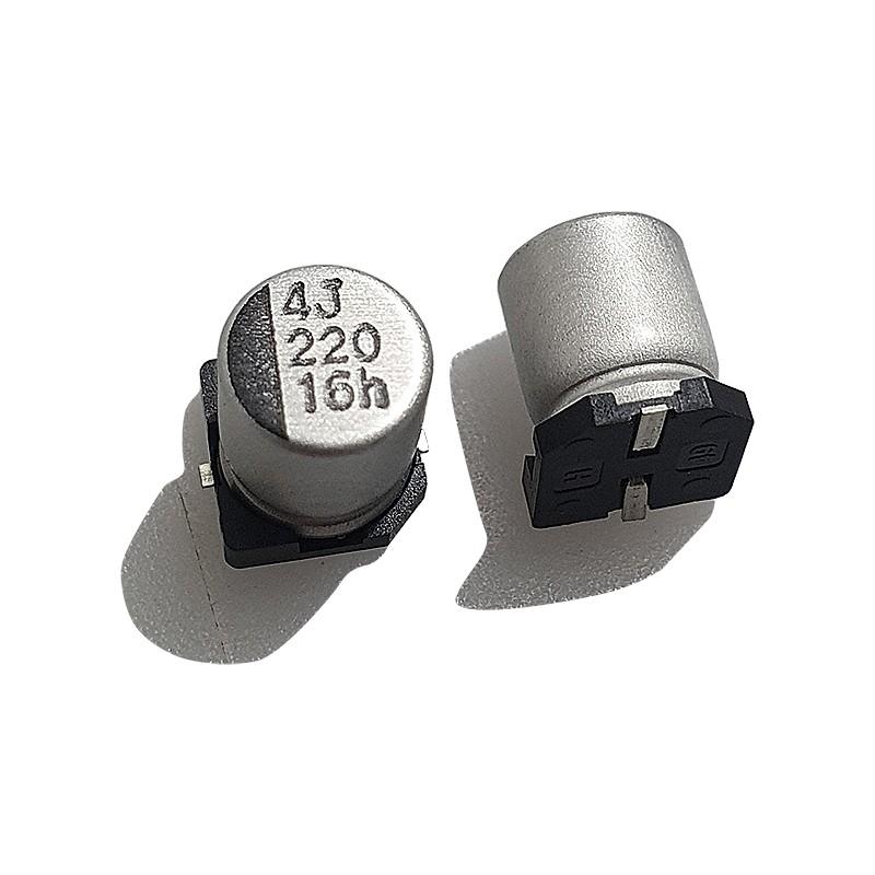 CAPACITOR ELETROLÍTICO - SMD, 220uF, 16V, 6,3 x 7,7mm KIT C/ 20 PÇS