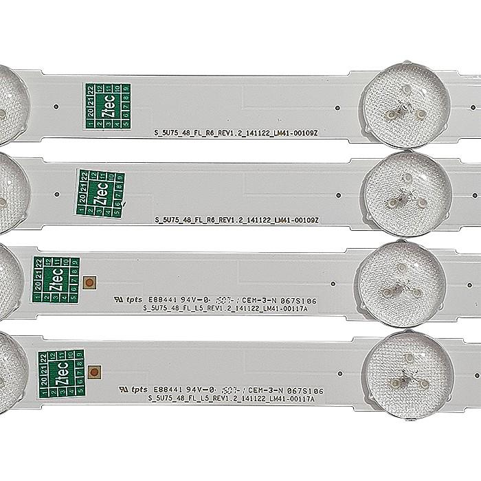 KIT 12 BARRAS DE LED SAMSUNG - Modelo UN48JU6000G | Código 6X LM41-00117A + 6X LM41-00109Z