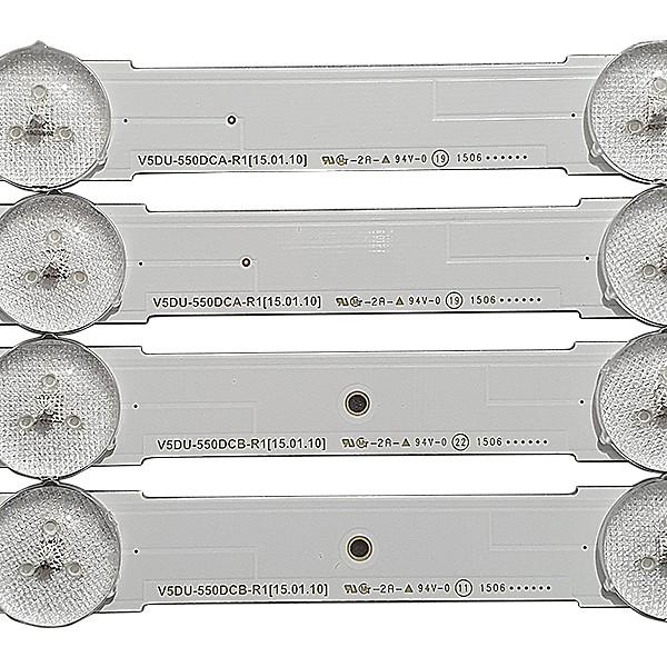 KIT 12 BARRAS LED SAMSUNG - Modelo UN55KU6000G / UN55MU6100G | Código V5DU-550DCA-R1 / V5DU-550DCB-R1