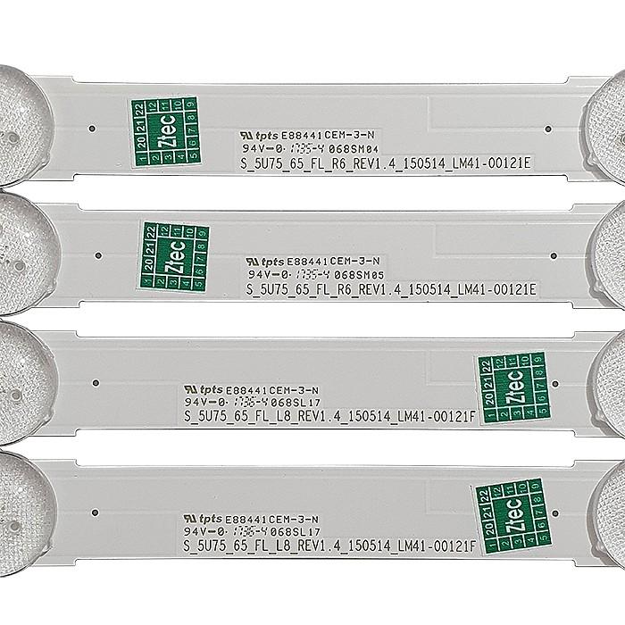 KIT 16 BARRAS DE LED SAMSUNG - Modelo UN65JU6000G | Código 8X LM41-00121E 8X LM41-00121F