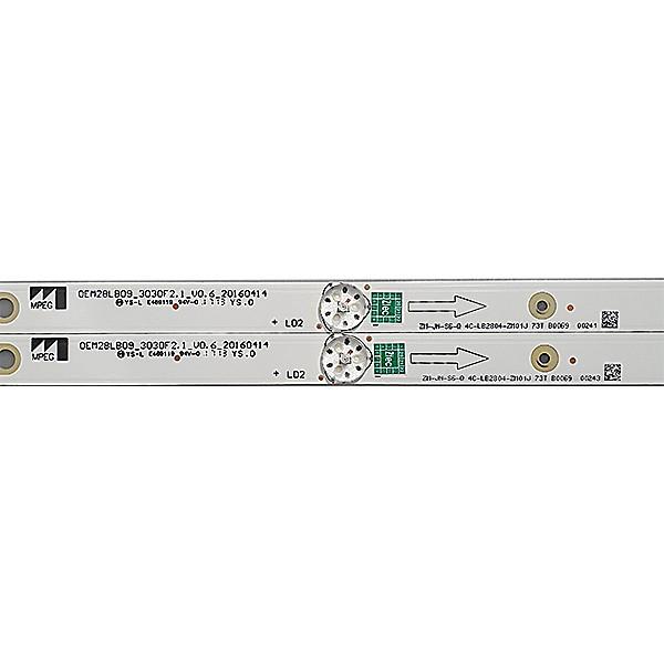 KIT 2 BARRAS LED SEMP TOSHIBA - Modelo L28D2900 | Código OEM28LB09_3030F2.1_V0.6