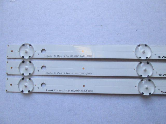 KIT 3 BARRAS DE LED LG MODELO 43UJ6300 43LJ5500 43LJ5550 CÓDIGO LC43490058A