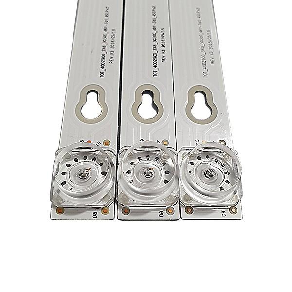KIT 3 BARRAS DE LED TOSHIBA - Modelo L40D2900F   Código TOT_40D2900_3X8_3030C_d6t-2d1_4S1Px2 REV.V3