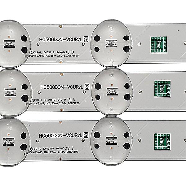 KIT 3 BARRAS LED LG - Modelo 50UK6520PSA | Código SS_50UK63/65_INX HC500DQN-VCUR/L