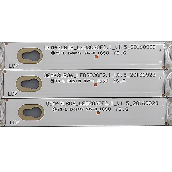KIT 3 BARRAS LED TCL - Modelo L43E5800A-UD | Código OEM43LB06_LED3030F2.1_V1.5_20160923