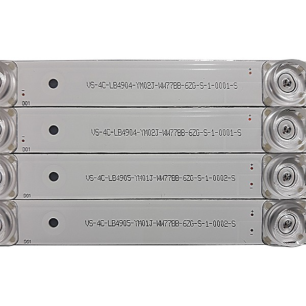 KIT 8 BARRAS LED TCL - Modelo L49S4900 / L49S4900FS - Código SW-4C-LB4904-YM02J-UU55BB-69A-S-1-0032-S / SW-4C-LB4905-YM01J-UU55BB-69A-S-1-0033-S