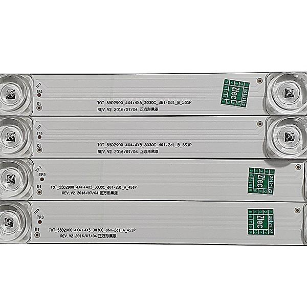 KIT 8 BARRAS LED TCL - Modelo L55S4900FS | Código TOT_55D2900_4X4+4X5_3030C_D6T-2D1_A_4SIP REV. V2