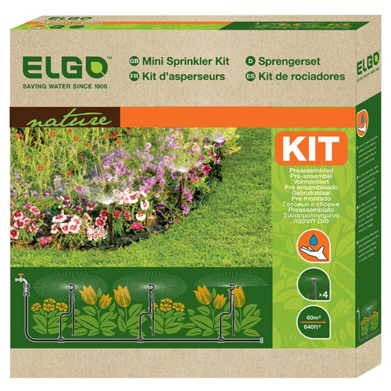Kit Micro Irrigação com 4 microaspersores 60 m² - 20L/h - MSS Elgo