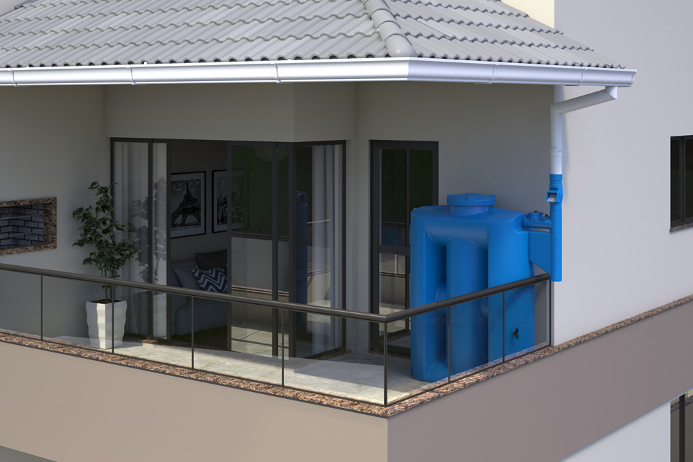 Cisterna Vertical Modular 600 litros sem filtro - Kit Reúso de Água - Tecnotri