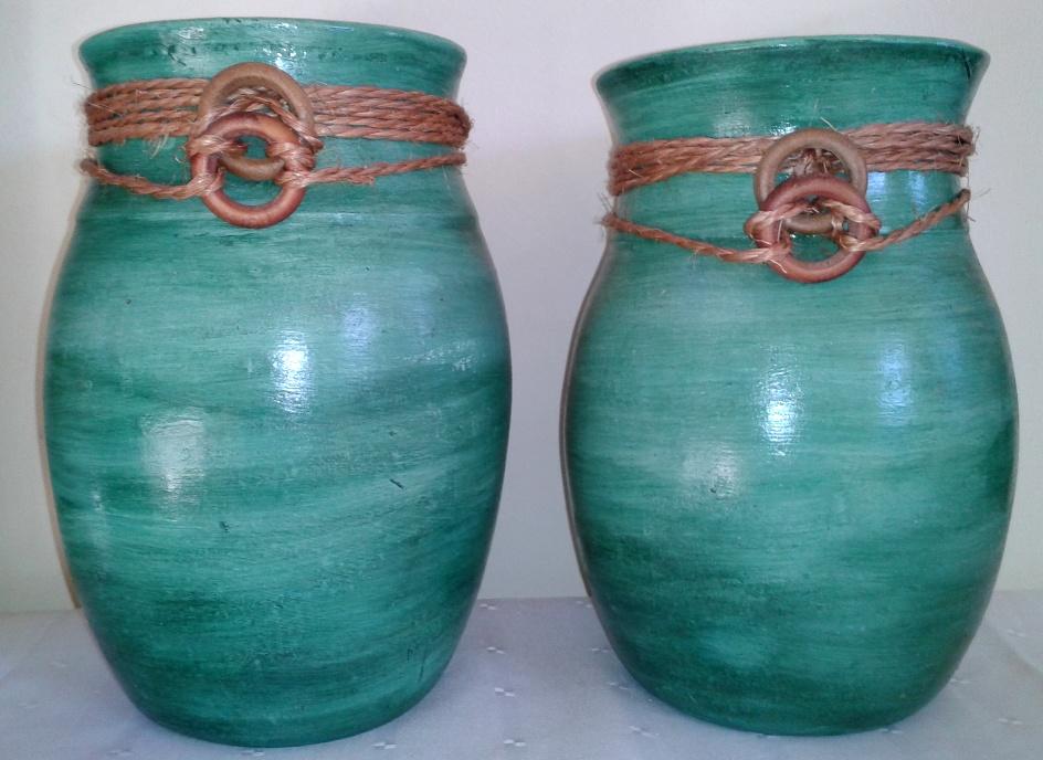 Par de Vasos Verde-Escuro