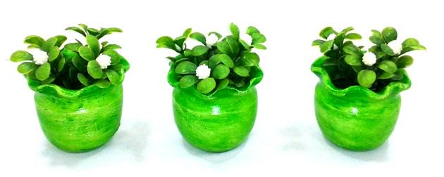 Trio de vasinhos decorativos verde limão com flores