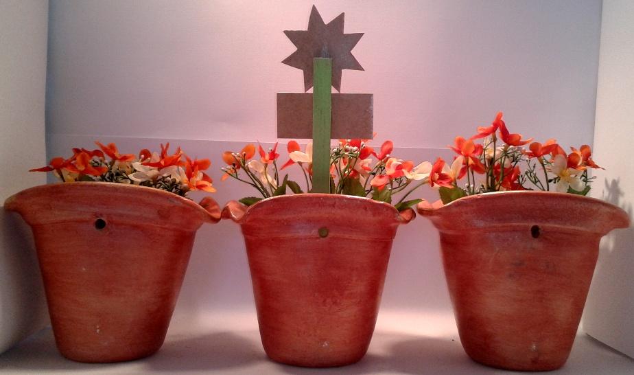Trio de vasos de parede Marrom-Avermelhado