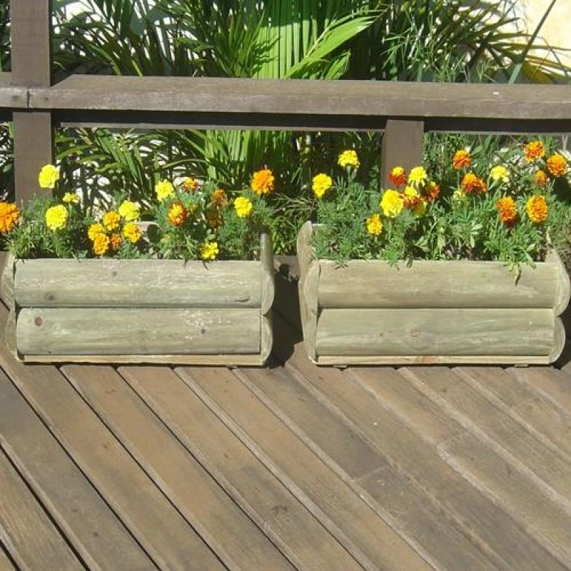 Vaso Meia Cana de madeira tratada 20x18x60cm (01 unidade)