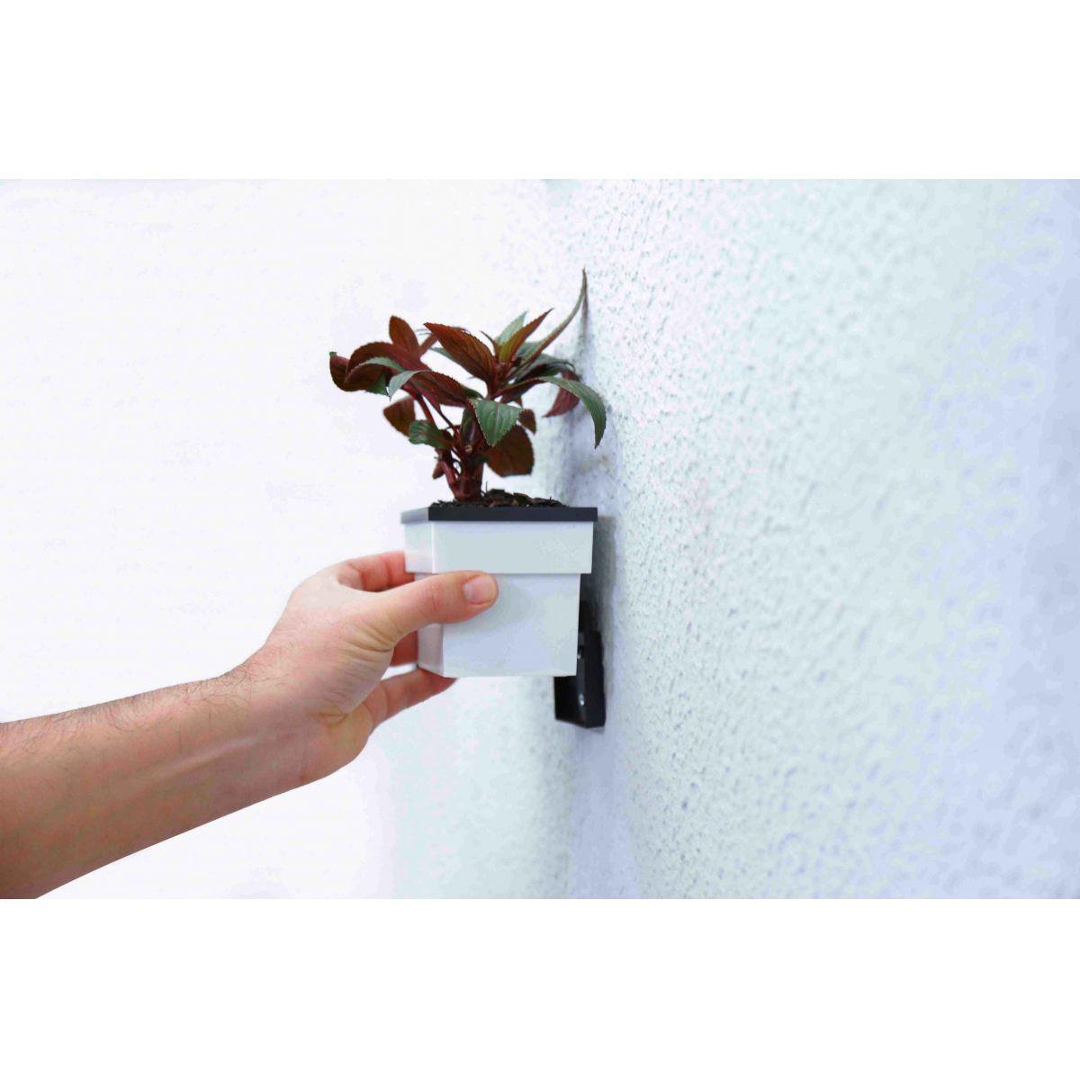 Vaso com reservatório de água e suporte de parede modelo Grande 19cm x 11cm Prático