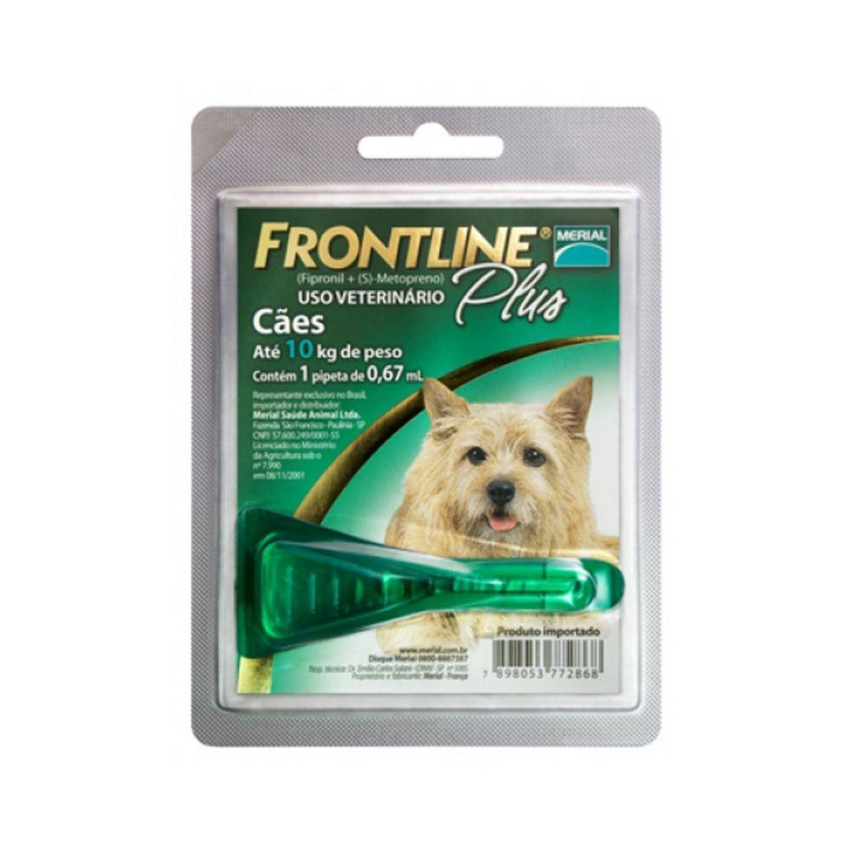 Frontline Plus 01 a 10Kg. P 0,67ml  - Farmácia do Cavalo