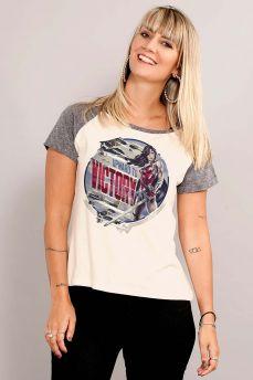 Camiseta Raglan Feminina Wonder Woman Upward to Victory