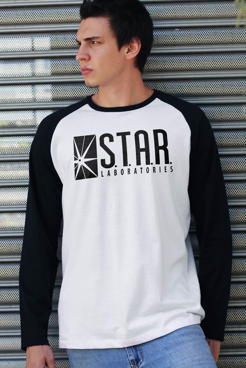 Camiseta Manga Longa Raglan Masculina The Flash Serie Star Laboratories