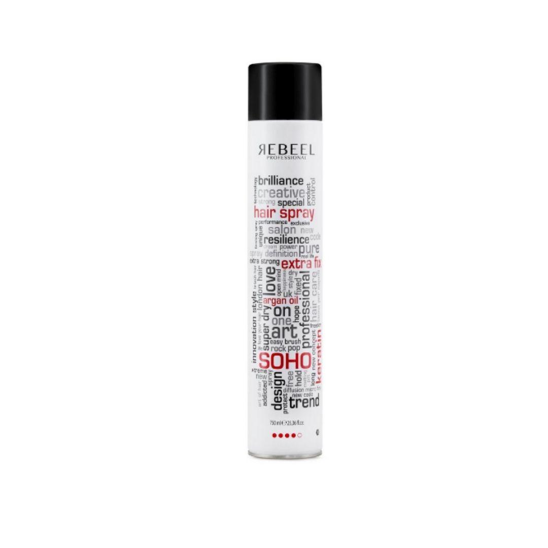 Hair Spray Extra Fix com Óleo de Argan e Queratina 750ml  Soho Rebeel Professional