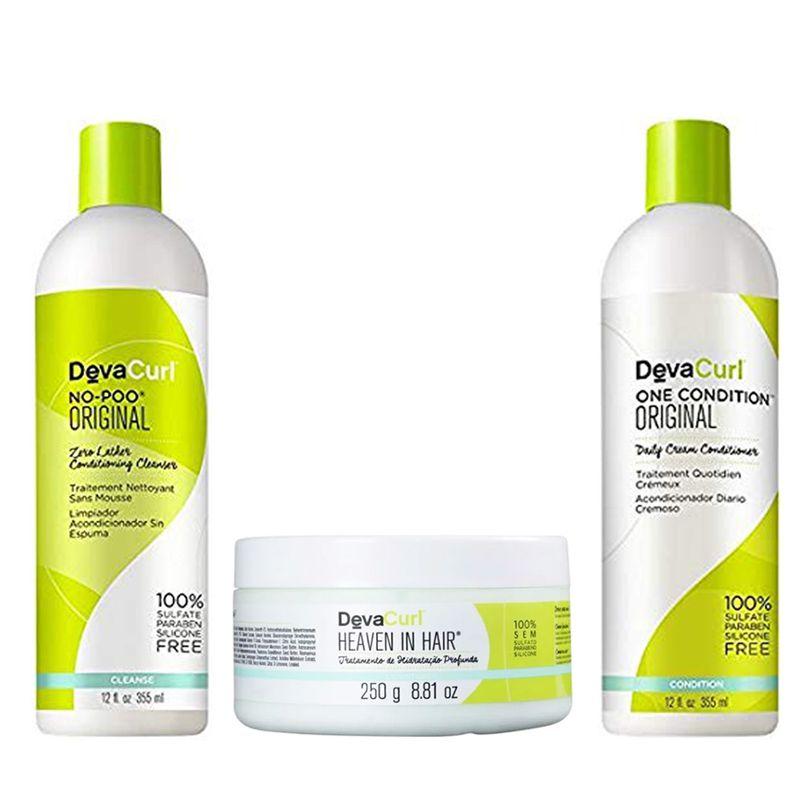 Kit Deva Curl 3 Produtos Heaven in hair  250g  - Beleza Outlet