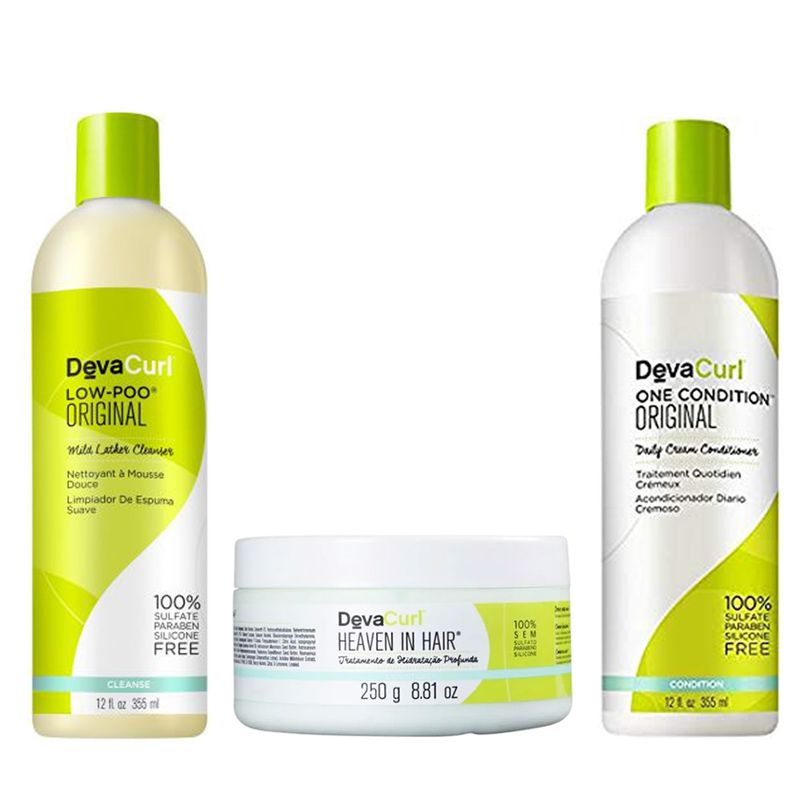 Kit Deva Curl 3 Produtos Low, One e Heaven in Hair 250g  - Beleza Outlet