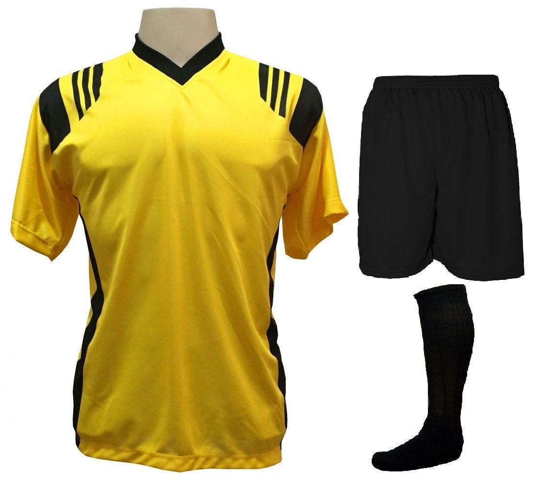 Fardamento Completo modelo Roma 18+1 (18 Camisas Amarelo/Preto + 18 Calções Madrid Preto + 18 Pares de Meiões Pretos + 1 Conjunto de Goleiro) + Brindes