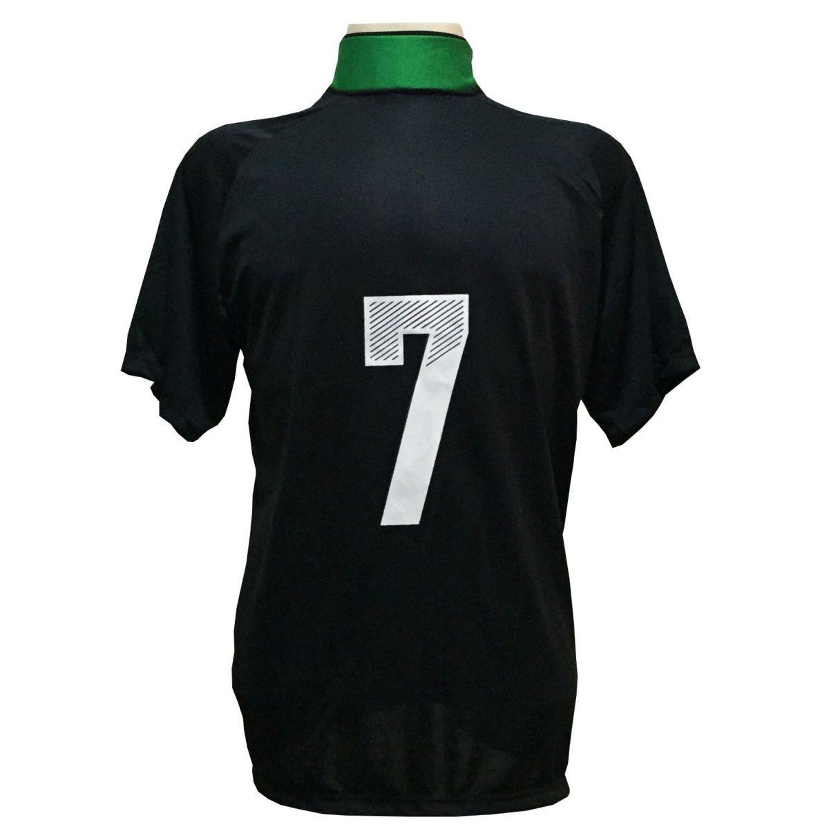 Jogo de Camisa com 12 unidades modelo Milan Preto/Verde + 1 Goleiro + Brindes