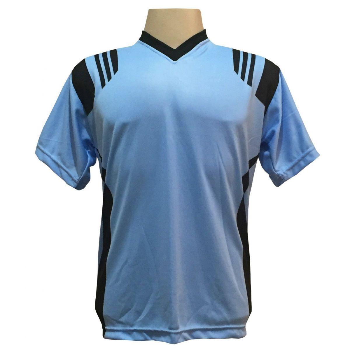 Jogo de Camisa com 12 unidades modelo Roma Celeste/Preto + 1 Goleiro + Brindes