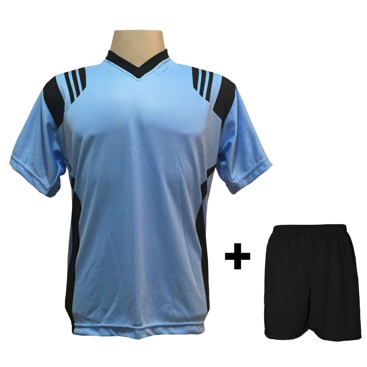 Uniforme Esportivo com 12 camisas modelo Roma Celeste/Preto + 12 calções modelo Madrid Preto + Brindes