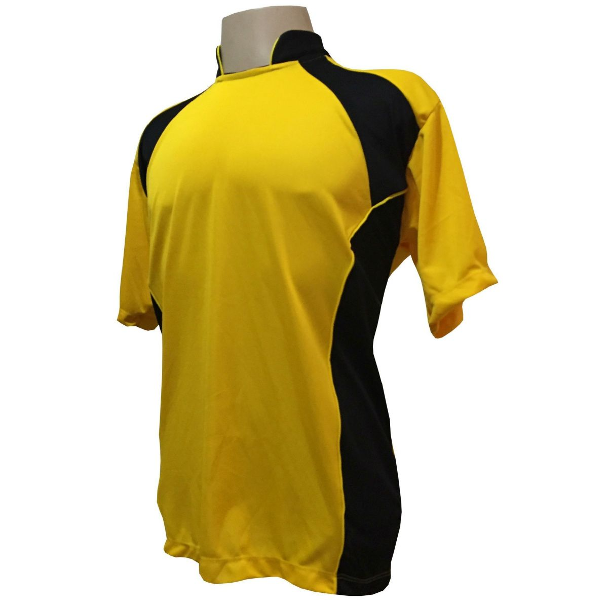 Uniforme Esportivo com 14 camisas modelo Suécia Amarelo/Preto + 14 calções modelo Madrid Preto + Brindes