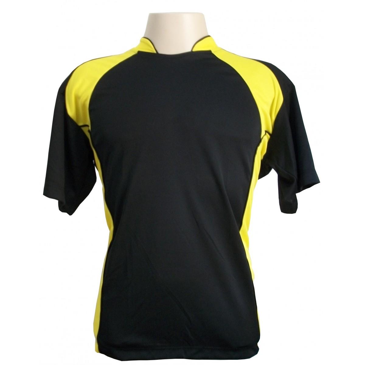 Jogo de Camisa modelo Su�cia com 14 pe�as Preto/Amarelo - Frete Gr�tis Brasil + Brindes