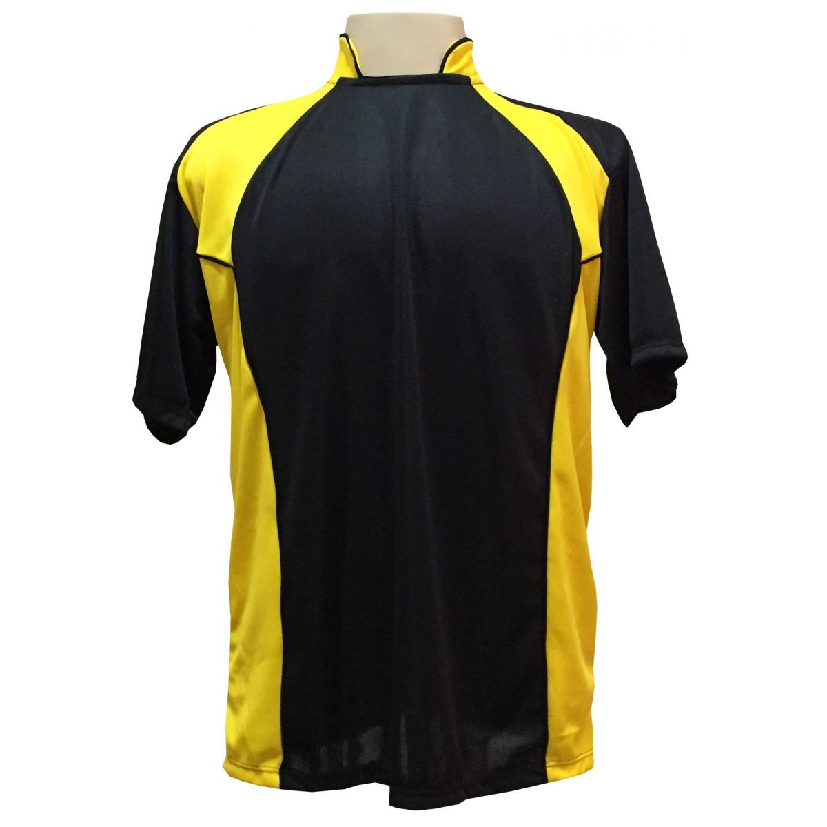 Uniforme Esportivo com 14 camisas modelo Suécia Preto/Amarelo + 14 calções modelo Madrid Preto + Brindes