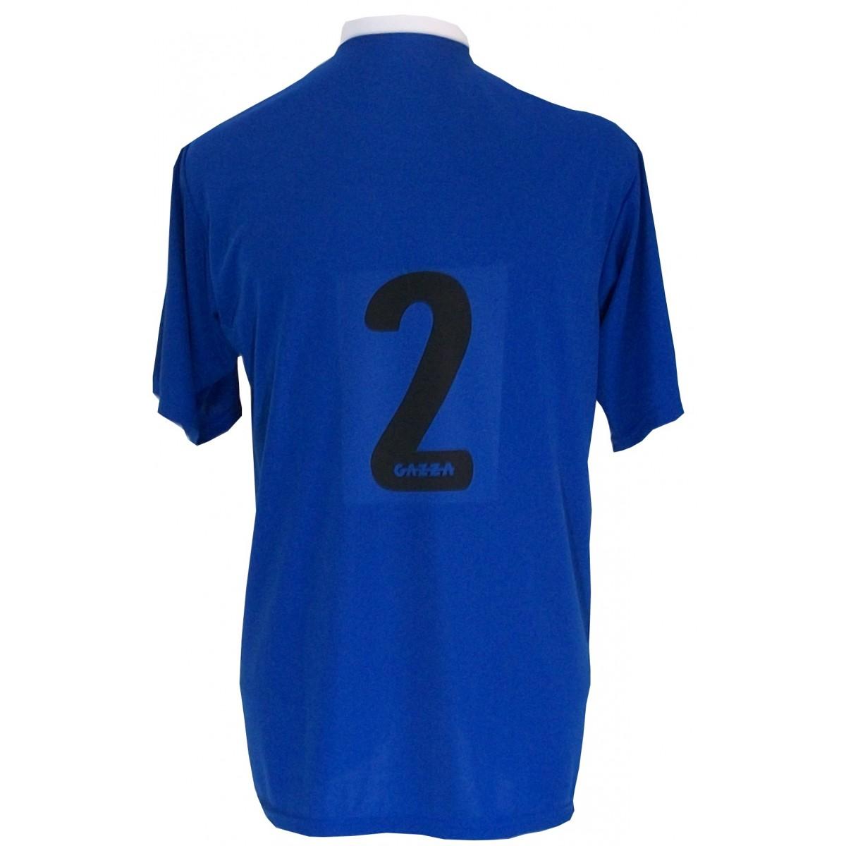 Uniforme Esportivo com 14 camisas modelo PSG Royal/Preto/Branco + 14 calções modelo Madrid Preto