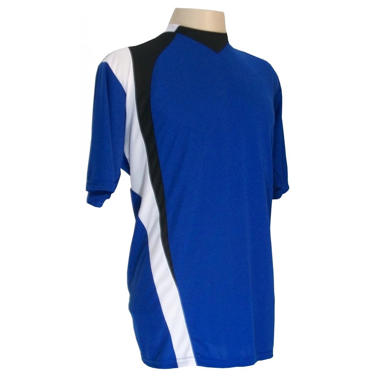 Uniforme Esportivo com 14 camisas modelo PSG Royal/Preto/Branco + 14 calções modelo Madrid Branco