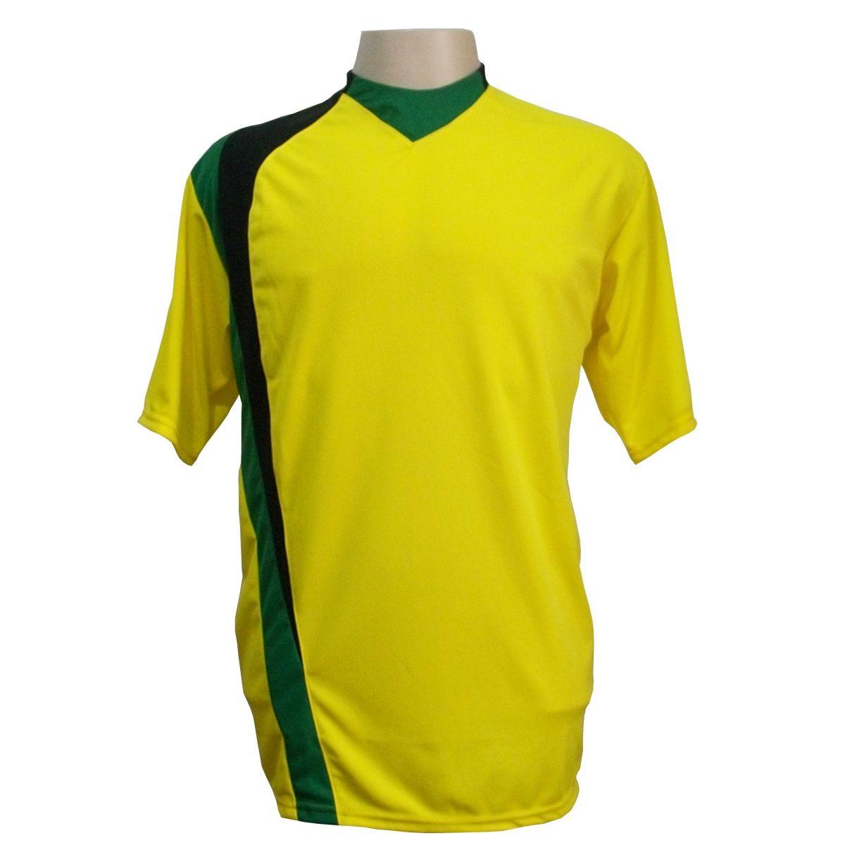 Uniforme Esportivo com 14 camisas modelo PSG Amarelo/Preto/Verde + 14 calções modelo Madrid Preto + Brindes