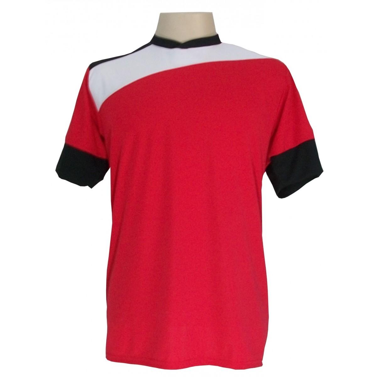 Uniforme Esportivo com 14 camisas modelo Sporting Vermelho/Branco/Preto + 14 calções modelo Madrid Preto + Brindes