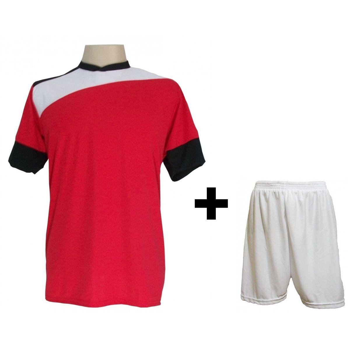 Uniforme Esportivo com 14 camisas modelo Sporting Vermelho/Branco/Preto + 14 calções modelo Madrid Branco + Brindes