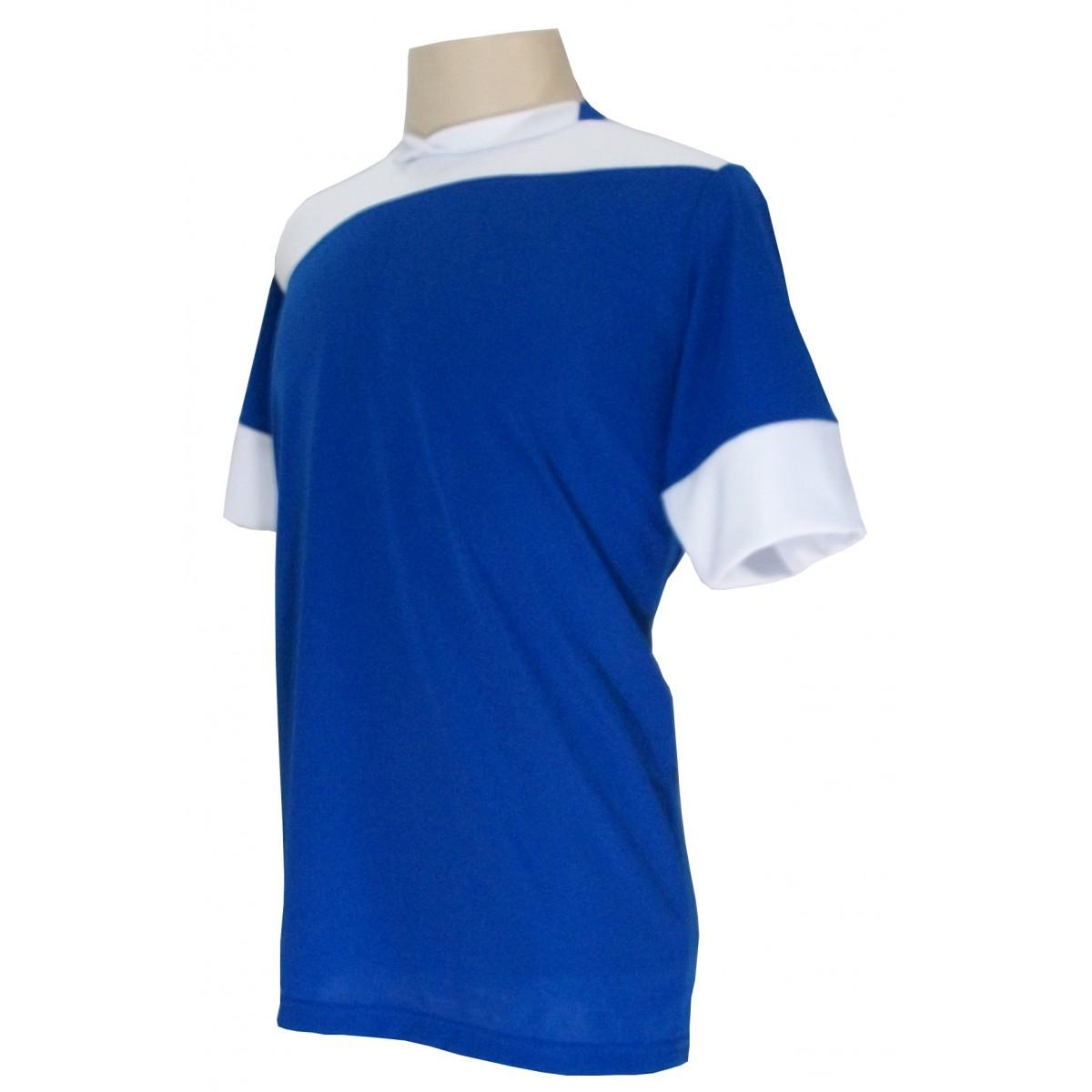 Uniforme Esportivo com 14 camisas modelo Sporting Royal/Branco + 14 calções modelo Madrid Branco + Brindes