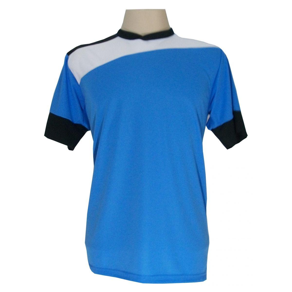 Uniforme Esportivo com 14 camisas modelo Sporting Celeste/Branco/Preto + 14 calções modelo Madrid Branco + Brindes