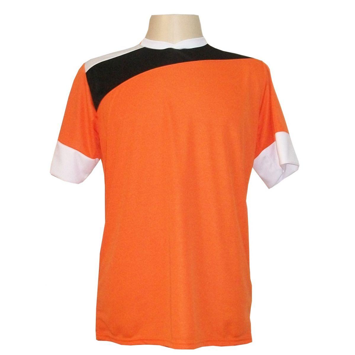 Uniforme Esportivo com 14 camisas modelo Sporting Laranja/Preto/Branco + 14 calções modelo Madrid Branco + Brindes