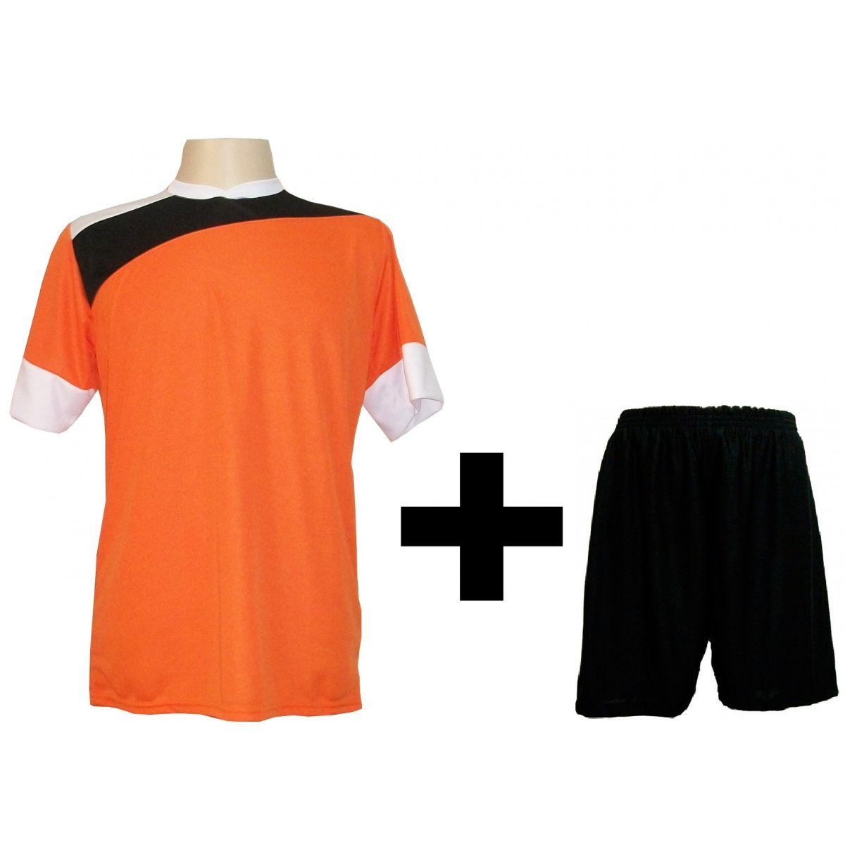 Uniforme Esportivo com 14 camisas modelo Sporting Laranja/Preto/Branco + 14 calções modelo Madrid Preto + Brindes