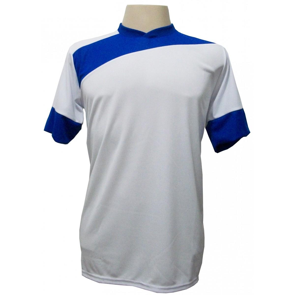 Uniforme Esportivo com 14 camisas modelo Sporting Branco/Royal + 14 calções modelo Madrid Branco + Brindes