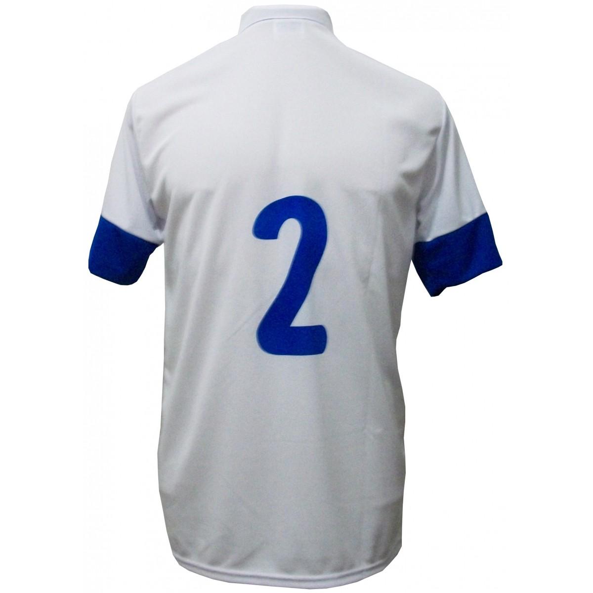 Uniforme Esportivo com 14 camisas modelo Sporting Branco/Royal + 14 calções modelo Madrid Royal + Brindes