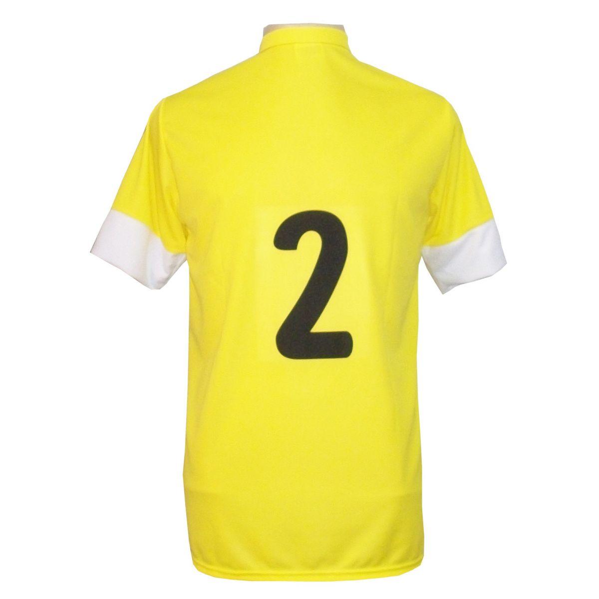 Uniforme Esportivo com 14 camisas modelo Sporting Amarelo/Preto/Branco + 14 calções modelo Madrid Preto + Brindes