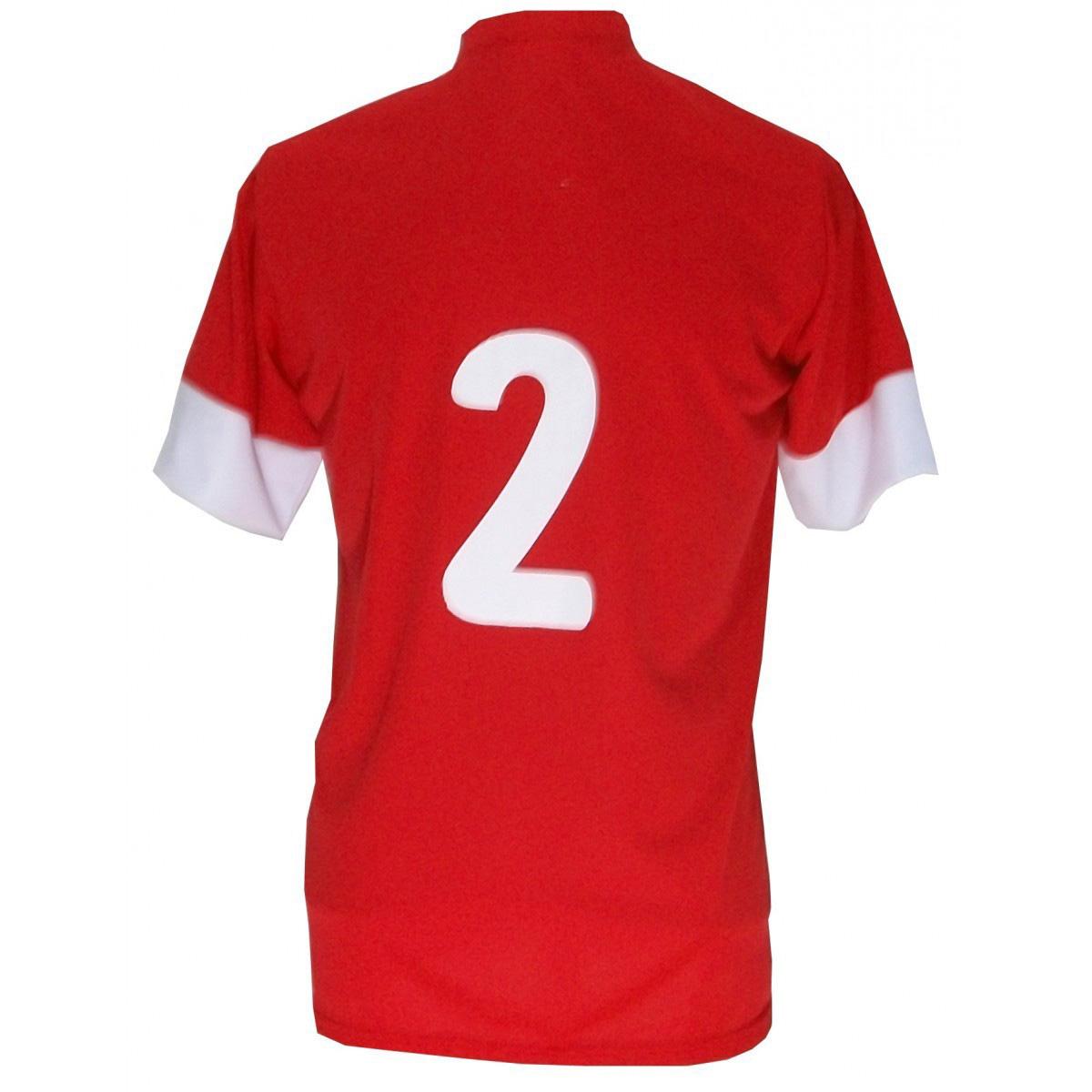 Jogo de Camisa com 14 unidades modelo Sporting Vermelho/Branco + Brindes