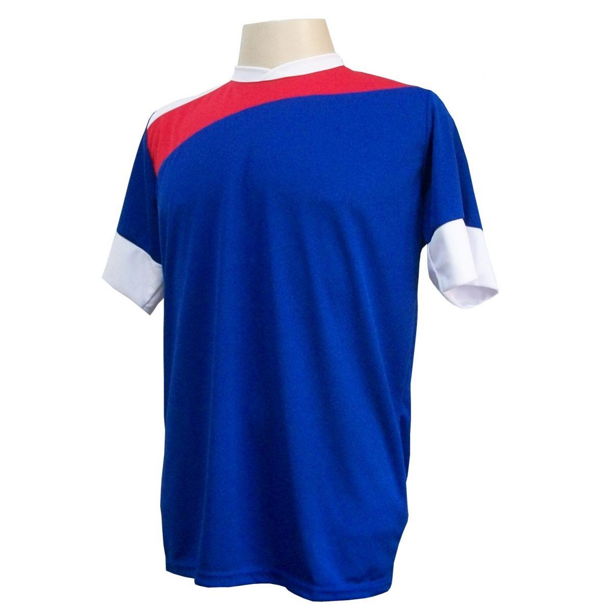 Uniforme Esportivo com 14 camisas modelo Sporting Royal/Vermelho/Branco + 14 calções modelo Madrid Branco + Brindes