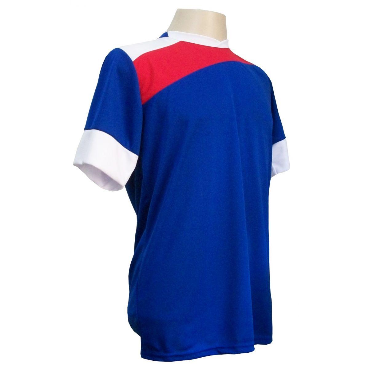Uniforme Esportivo com 14 camisas modelo Sporting Royal/Vermelho/Branco + 14 calções modelo Madrid Vermelho + Brindes