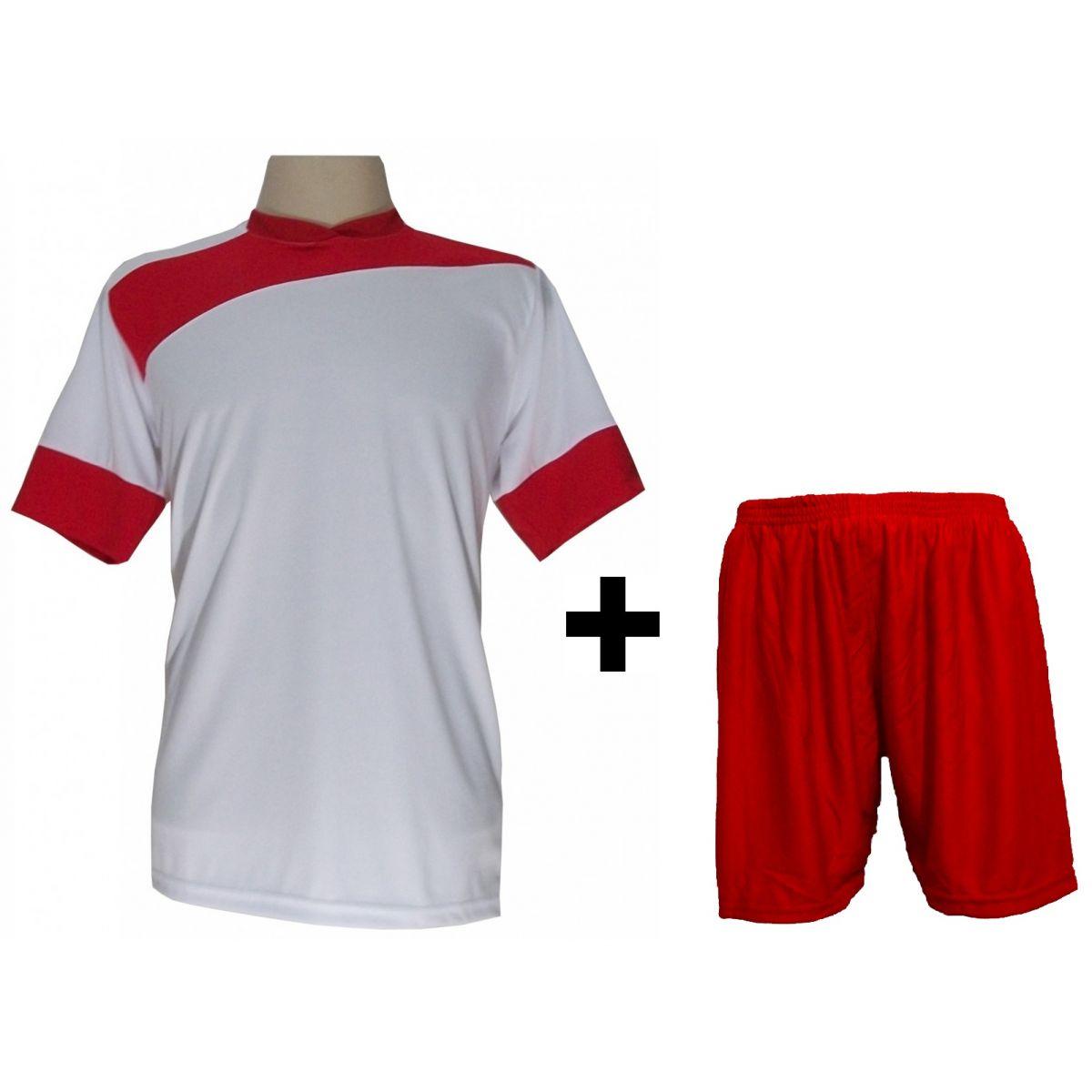 Uniforme Esportivo com 14 camisas Sporting Branco/Vermelho + 14 calções modelo Madrid Vermelho + Brindes