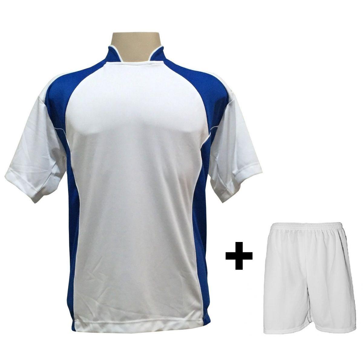 Uniforme Esportivo com 14 camisas modelo Suécia Branco/Royal + 14 calções modelo Madrid Branco + Brindes