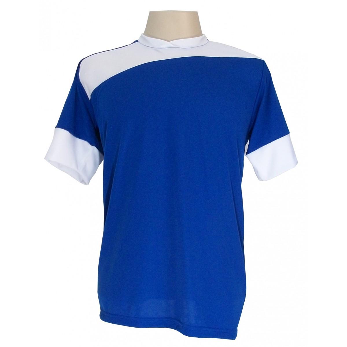 Uniforme Esportivo Completo modelo 14+1 (14 camisas Sporting Royal/Branco + 14 calções Madrid Branco + 14 pares de meiões Royal + 1 conjunto de goleiro) + Brindes